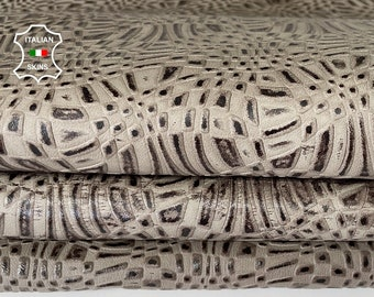 TAUPE  EYE ATTRACTION embossed textured vintage look soft Italian lambskin sheep leather skin skins hide hides 7sqf 0.7mm #A8076