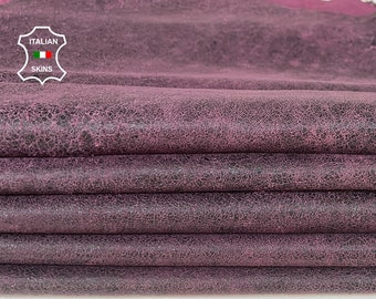 PLUM ANTIQUED crackled VINTAGE stonewash look distressed soft Italian Lambskin Lamb Sheep leather 2 skins total 12sqf 0.8mm #A7881