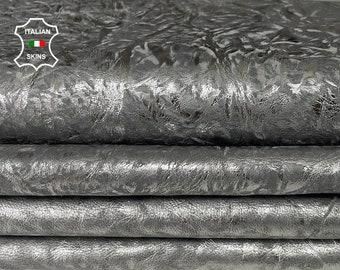 METALLIC SILVER DISTRESSED on grey textured stonewash vintage look Italian Lambskin Lamb sheep leather 2 skins total 12sqf 1.0mm #A7707