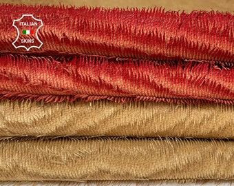 FRINGES PEANUT BEIGE & coral red very vintage look soft Italian Lambskin Lamb sheep leather pack 2 skins total 10sqf 1.0mm #A8541