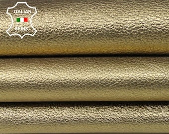 METALLIC GOLD GRAINY thick Italian Goatskin Goat leather skin hide skins hides 4sqf 1.2mm #A5618