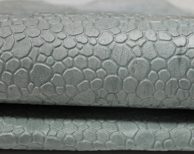 Undyed Unfinished greenish grey thick strong Bubbles embossed pattern genuine Italian Goatskin Goat leather 2 skins hides 16sqf 1.5mm #A3581