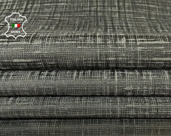 PETROL GREY TEXTURED vintage look soft Italian lambskin sheep leather skin skins hide hides 7sqf 0.7mm #A8114