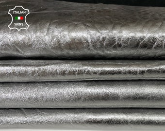 METALLIC SILVER BUBBLY grainy textured thick Italian Lambskin Lamb sheep leather 2 skins hides total 12sqf 1.4mm #A7702