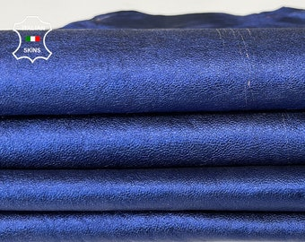 METALLIC BLUE on vegetable tan soft Italian Lambskin Lamb Sheep leather skin skins hide 9sqf 0.8mm #A7638