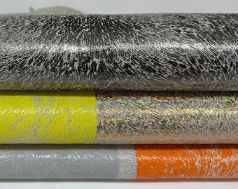 MULTI PRINTS COLORS textures on grey Italian Calfskin calf leather leather skin hide skins hides 8sqf 1.1mm #A7592