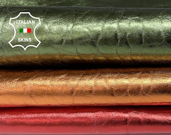 METALLIC 3 colors Red Green Copper on thick textured vegetable tan Italian Lambskin Lamb Sheep Leather 3 skins total 15sqf 1.8mm #A7201