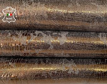 METALLIC BRONZE DISTRESSED textured thick Italian goatskin goat leather skin skins hide hides 5sqf 1.2mm #A8043