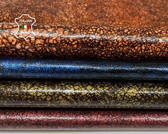 PATENT SHINY PACK 4 colors skins stonewash vintage look Italian Lambskin Lamb Sheep leather 4 hides total 30sqf 0.8mm #A7754