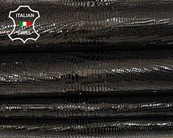 BLACK TEJUS LIZARD textured shiny Italian Goatskin Goat Leather for crafts bags shoes 2 skins hides total 6sqf 1.0mm #A7346