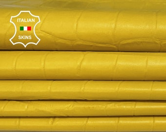 YELLOW CROCODILE textured embossed soft Italian Lambskin Lamb Sheep leather skin hide skins hides 5-6sqf 0.6mm #A7378