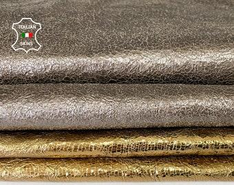 METALLIC OLD GOLD & bronze textured Italian goatskin goat leather skin skins hide hides total 2 skins 8sqf 1.1mm #A8082