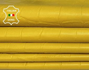YELLOW CROCODILE texture Italian lambskin Lamb Sheep leather 12 skins hides total 80-90sqf