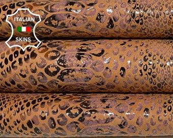 TANGERINE ORANGE PYTHON Snake print textured Italian Lambskin lamb Sheep leather hide hides skin skins 5-6sqf 0.7mm #A7067