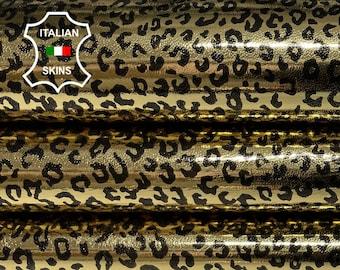 CHEETAH METALLIC GOLD print texture textured Italian Lambskin Lamb Sheep leather skin skins hides 7sqf 0.7mm #A7063
