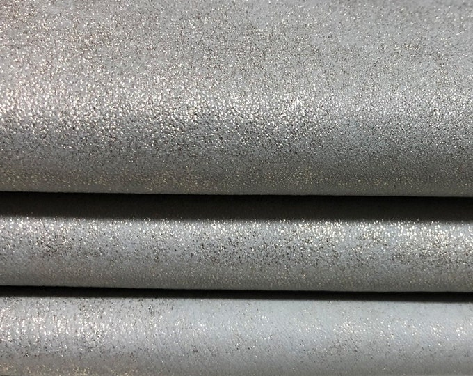 STRETCH METALLIC Light GOLD distressed grey vintage Platin Italian lambskin Lamb Sheep leather material for sewing skins 6sqf 0.6mm #A4584