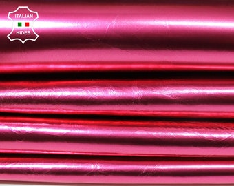 METALLIC ROSE PINK Italian Lambskin Lamb Sheep leather material for sewing skin hide skins hides 6sqf 0.6mm #A4576