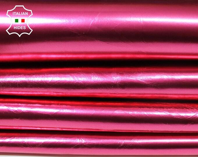 METALLIC ROSE PINK Italian Lambskin Lamb Sheep leather material for sewing skin hide skins hides 6sqf 0.6mm #A4576