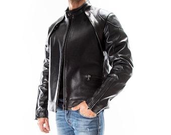 BLACK Italian handmade Men genuine Lambskin real leather jacket slim fit Xs to 3XL