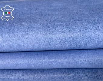 AZURE BLUE  vegetable tan soft Italian lambskin sheep leather skin skins hide hides 5sqf 0.7mm #A8088
