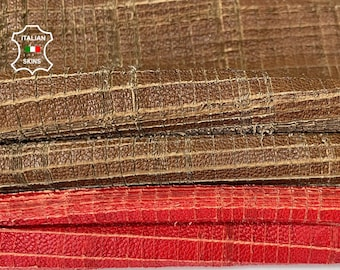 PACK 2 SKINS red & brown vegetable tan cat scratches textured vintage look lambskin sheep leather skin hide total 2 skins 12sqf 1.2mm #A8111