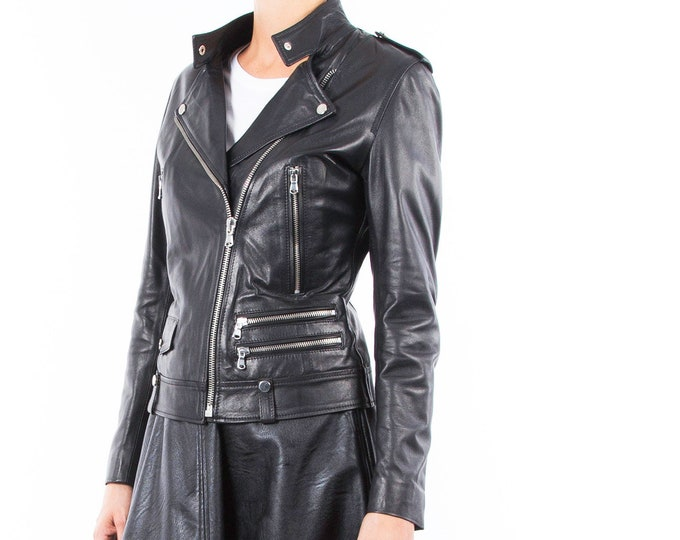 Italian handmade Women genuine lambskin leather biker jacket slim fit black