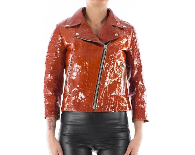 Italian handmade Women soft genuine lambskin lamb leather biker jacket slim fit color Patent Cognac Brown 3/4 sleevs