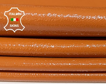 PATENT TANGERINE ORANGE crinkle crinkled shiny Italian Calfskin Calf Cow cowhide genuine leather upholstery skin skins 16-22sqf 1.1mm #P15