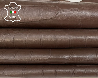 BROWN CROCODILE textured soft Italian Lambskin Lamb Sheep leather material for sewing 2 skins total 18sqf 0.5mm #A7411