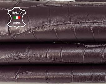 PLUM CROCODILE textured embossed Italian Lambskin Lamb Sheep leather skin hide skins hides 6-9sqf 0.7mm #A7376