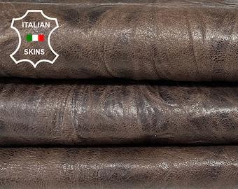 WASHED BROWN ANTIQUED dark brown wrinkled textured rustic vegetable tan Italian lambskin lamb sheep wholesale leather skins 0.5mm to 1.2 mm