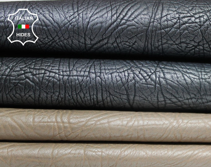 BEIGE & GUNMETAL 2 shades pearlized vegetable tan rhino grainy Italian Lambskin Lamb Sheep leather 2 skins hides 8sqf 1.5mm #A3796