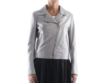 Italian handmade Women soft genuine lambskin lamb leather biker jacket slim fit color grey