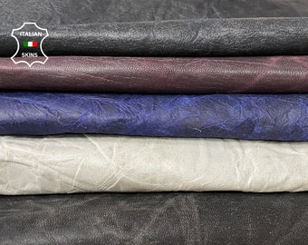 BROWN PACK 5 SKINS gray, blue, rustic crinkle antiqued vegetable tan Italian goatskin goat leather pack 5 skins total 25sqf 0.7-0.8mm #A8475