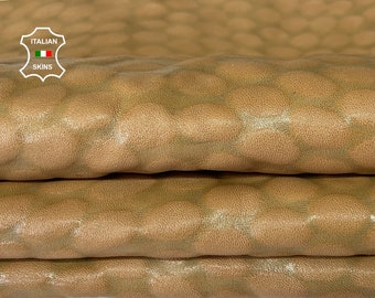 BEIGE TEXTURED BUBBLY soft Italian lambskin sheep leather skin skins hide hides 5sqf 1.0mm #A8074