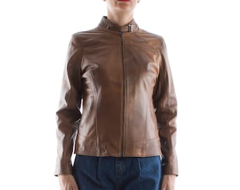 Italian handmade Women genuine lambskin leather jacket slim fit brown distressed