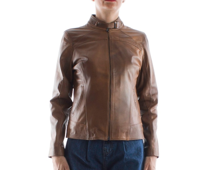 Italian handmade Women genuine lambskin leather jacket slim fit brown distressed