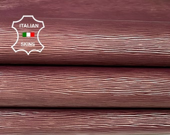 EPI WINE bordeaux shiny embossed textured Italian strong Goatskin Goat leather 2 skins hides total 7sqf 0.8mm #A7425