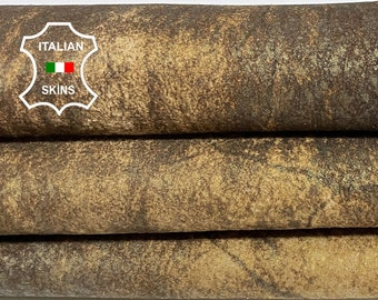 BROWN ANTIQUED DISTRESSED rustic crinkled stonewash vintage look veg tan Italian Lambskin Lamb Sheep leather skin 5sqf 0.8mm #A7457