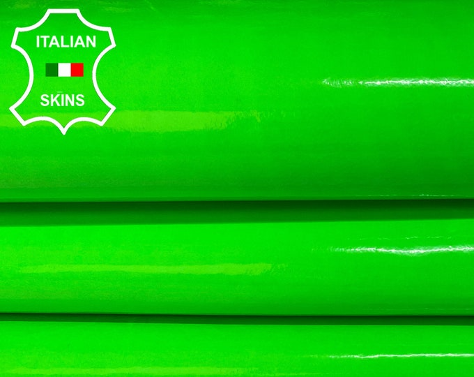 NEON GREEN PATENT Fluo fluorescent shiny lime Italian Lambskin Lamb Sheep leather skin hide skins hides 4-7sqf 0.6mm