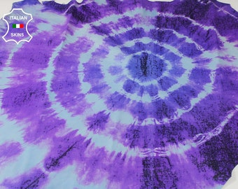 TIE DYE blue & purple Distressed hand painted Italian Lambskin Lamb Sheep leather skin hide skins hides 6-7sqf 0.8mm #A6815