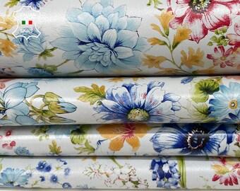 COLORFUL FLOWERS printed on ice white Italian Lambskin Lamb Sheep leather skin hide skins 7+sqf 0.7mm #A7797