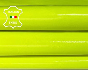 NEON YELLOW PATENT Fluo fluorescent shiny wet look Italian Lambskin Lamb Sheep leather skin hide skins hides 4-10sqf 0.6mm