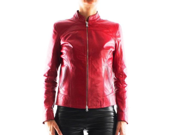 Italian handmade Women soft genuine lambskin leather jacket slim fit color Red