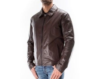 BROWN Italian handmade Men genuine soft lambskin real leather jacket slim fit XS to 2XL