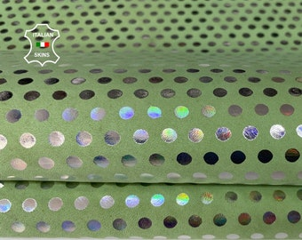 HOLOGRAPHIC SILVER POLKA Dots print on mint green nabuck Italian Goatskin Goat leather skin skins 5sqf 1.1mm #A7629
