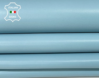 AZURE SKY BLUE baby light blue smooth Italian Lambskin Lamb Sheep leather 2 skins hides total 12sqf 0.8mm