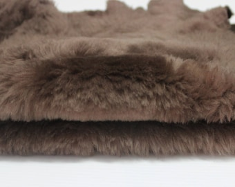 BROWN sheepskin hair on shearling fur sheep Italian leather skin skins hide hides 5sqf #M022