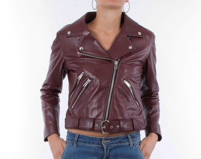Italian handmade Women genuine leather biker jacket slim fit wine bordeaux