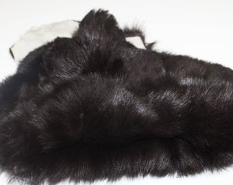 DARK BROWN sheepskin hair on shearling fur sheep Italian leather skin skins hide hides 2sqf #M026